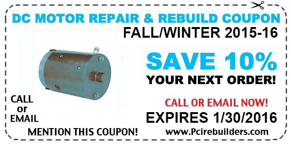DC Motor Repair Coupon for Rebuild, Repair, Or Replacement