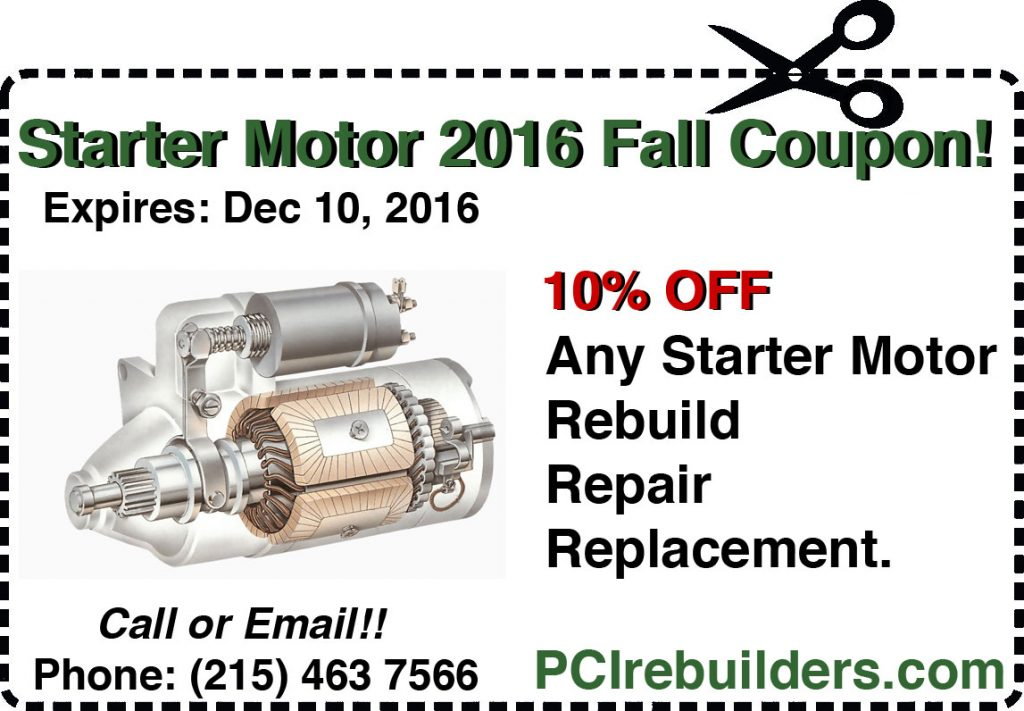 starter motor coupon 2016 Fall season
